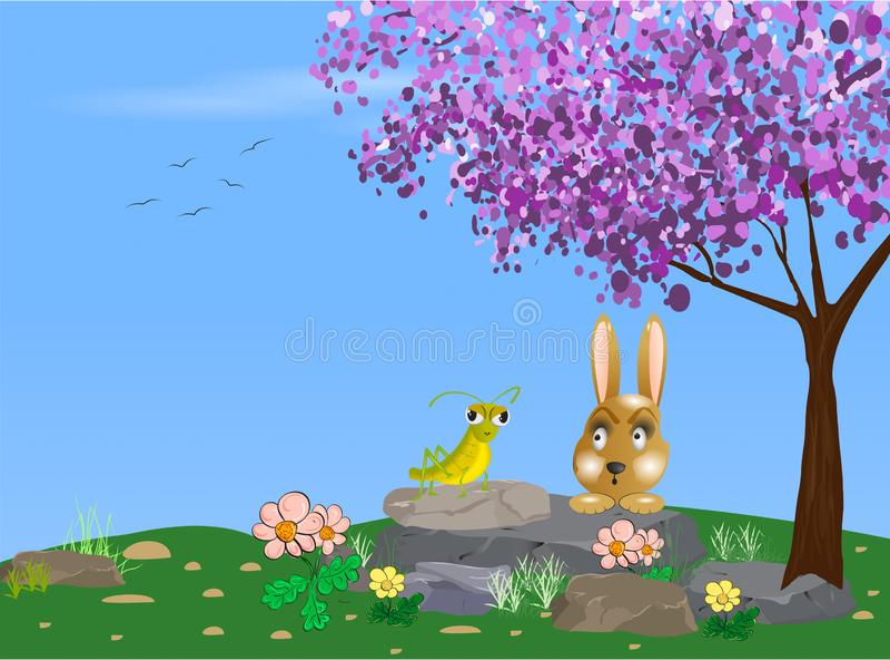 Conejo y un ejemplo del saltamontes fotografía de archivo libre de regalías