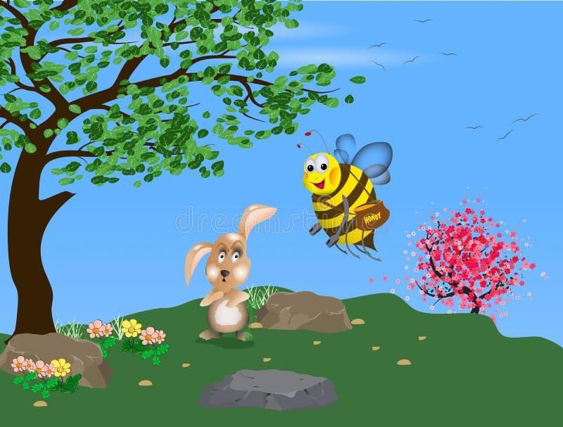 Conejo y una abeja con un pote de miel fotografía de archivo