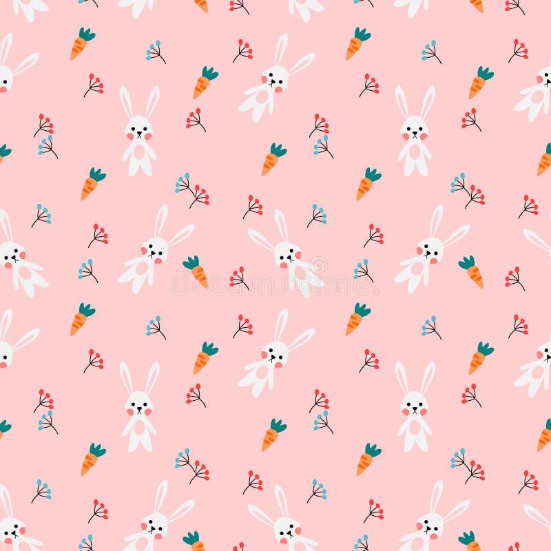 Conejo y zanahoria blancos lindos en fondo rosado ilustración del vector