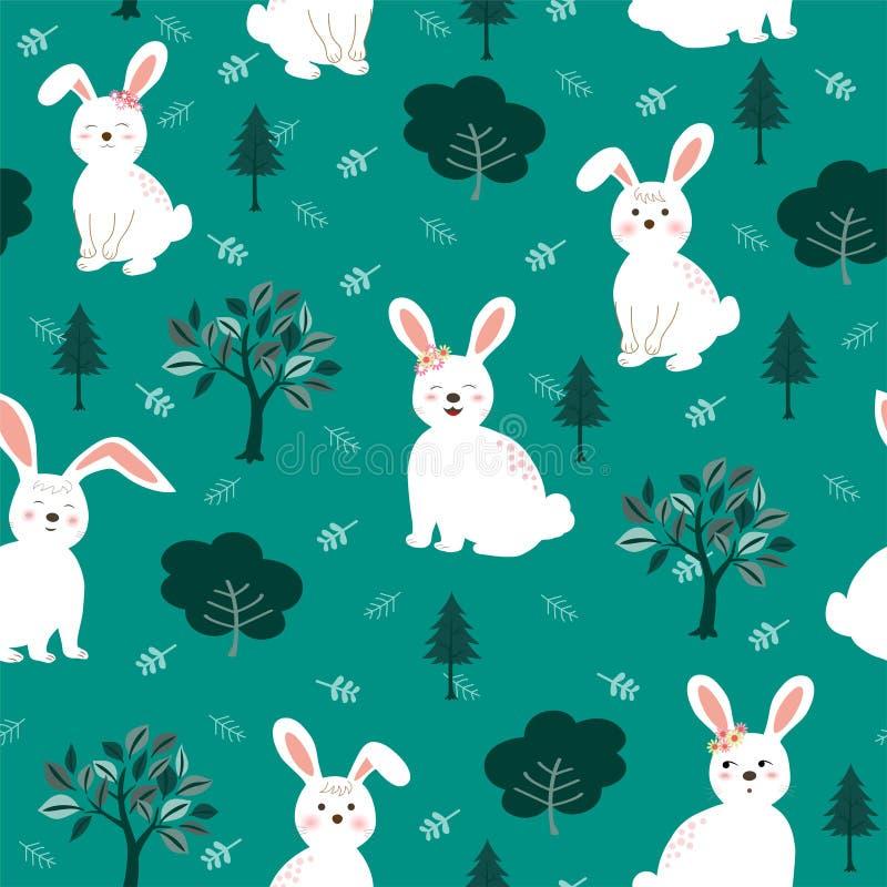 Conejos blancos lindos el modelo inconsútil de la cuadrilla en el fondo verde para el producto, la moda, la tela, la materia text ilustración del vector