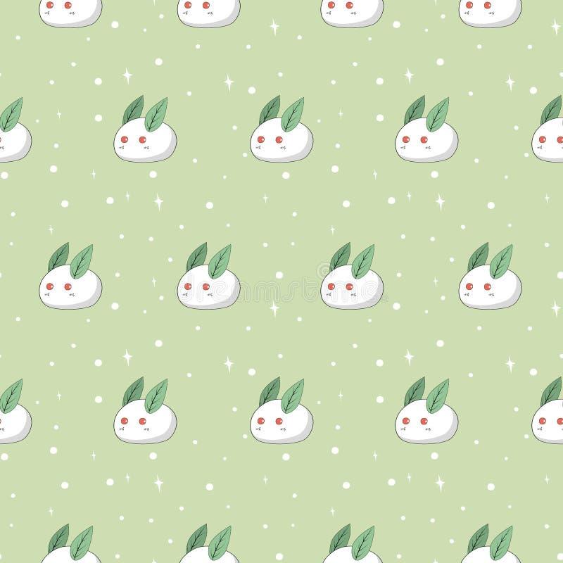Conejos blancos lindos hechos de nieve con la costura redonda blanca de los copos de nieve libre illustration