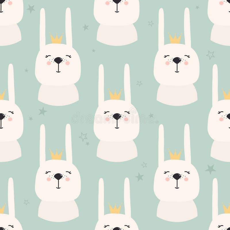 Conejos con las coronas, modelo inconsútil stock de ilustración