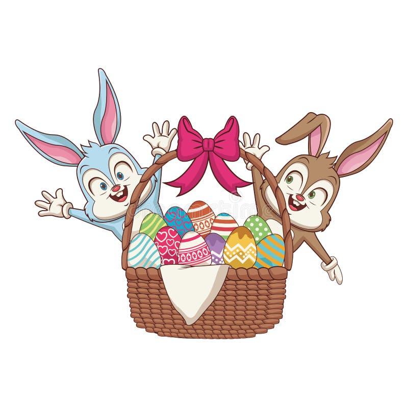 Conejos con los huevos de Pascua en cesta ilustración del vector