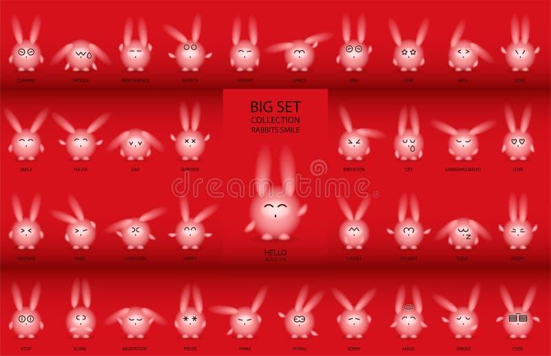 Conejos con los ojos estrechos fijados libre illustration