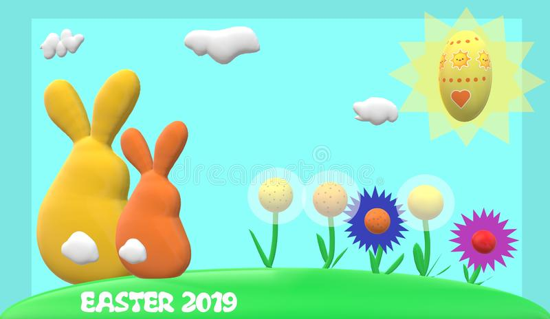 Conejos de Pascua, flores, sol, huevo de Pascua con el fondo azul claro, marco azul y subtítulo de 'pascua 2019 ' libre illustration