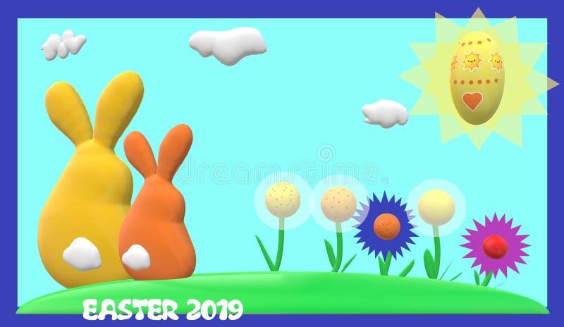 Conejos de Pascua stock de ilustración