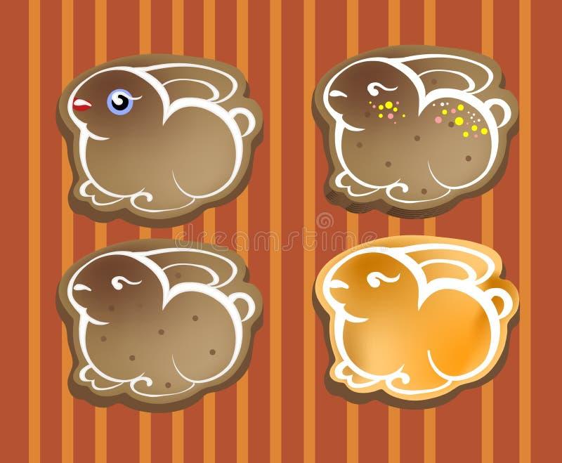 Conejos de Pascua - galletas, iconos foto de archivo libre de regalías
