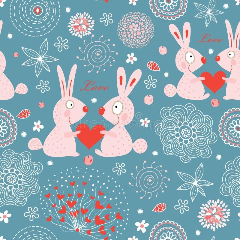 Conejos del amor de la textura ilustración del vector