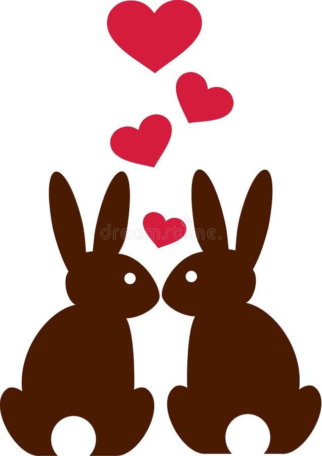 Conejos en amor con los corazones libre illustration