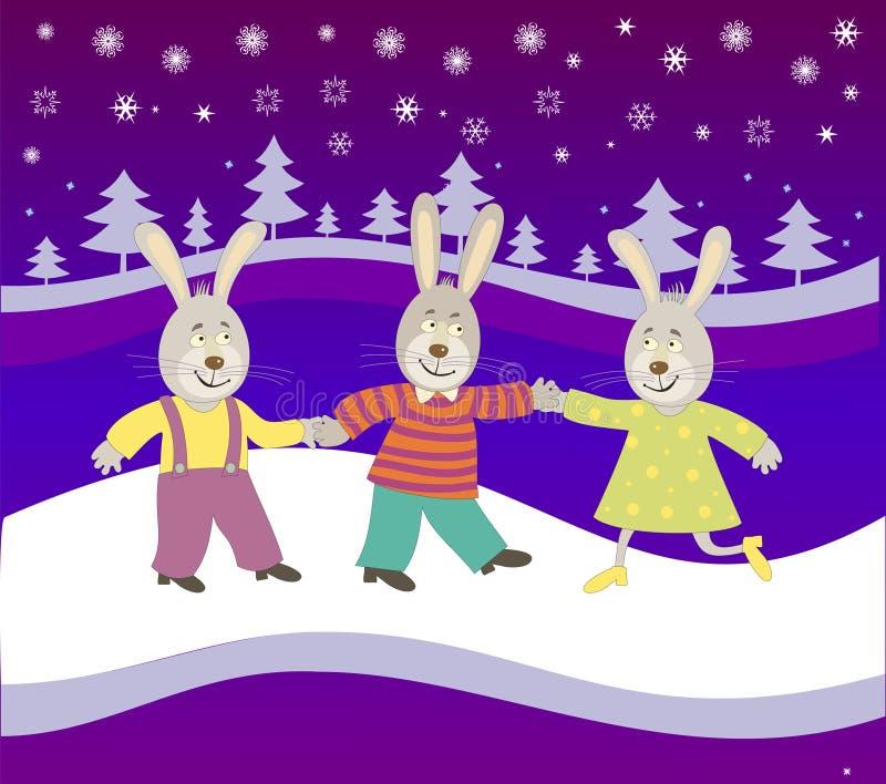 Conejos en el fondo del Año Nuevo stock de ilustración