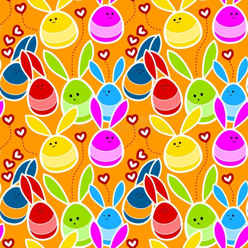 Conejos en fondo inconsútil del amor stock de ilustración