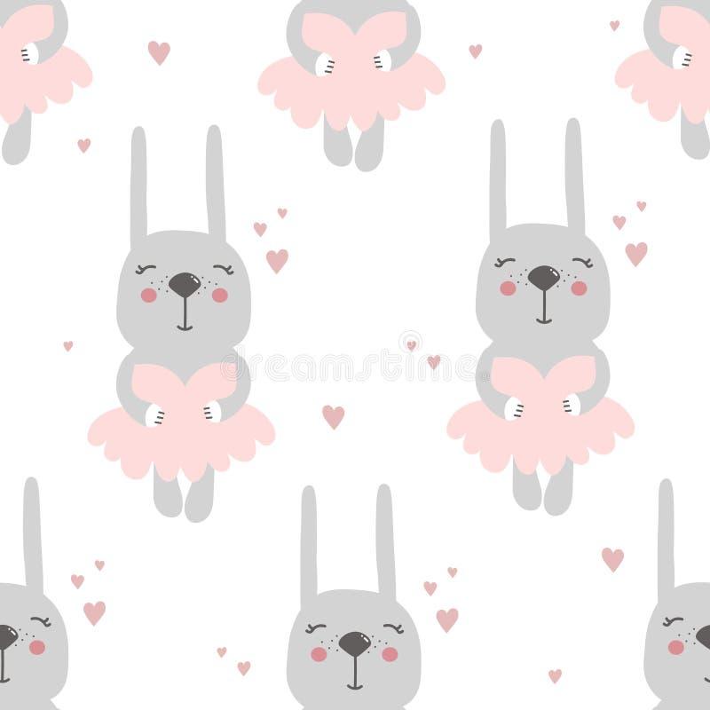 Conejos en los vestidos y los corazones, modelo inconsútil ilustración del vector