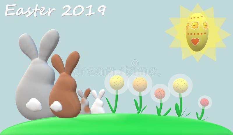 Conejos familia, flores, sol, huevo de Pascua con el fondo azul claro y subtítulo de Pascua de 'pascua 2019 ' ilustración del vector