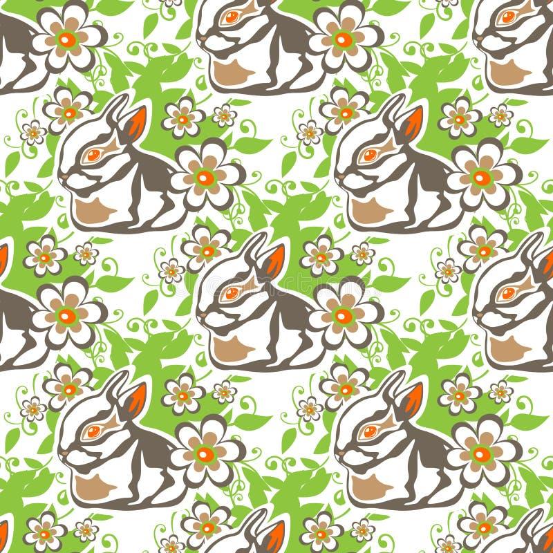 Conejos inconsútiles de pascua stock de ilustración
