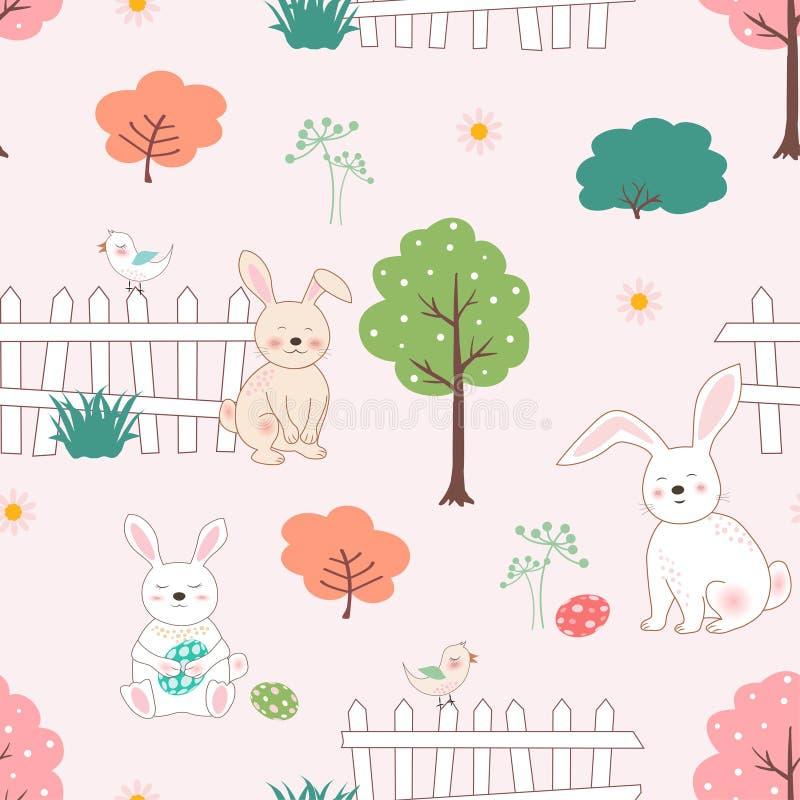 Conejos lindos con los huevos de Pascua en el modelo inconsútil del jardín para el producto, la camiseta, el regalo, la impresión stock de ilustración
