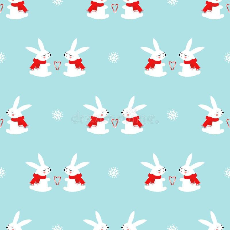 Conejos lindos del bebé con el modelo inconsútil de los corazones y de los copos de nieve del bastón de caramelo en fondo azul stock de ilustración