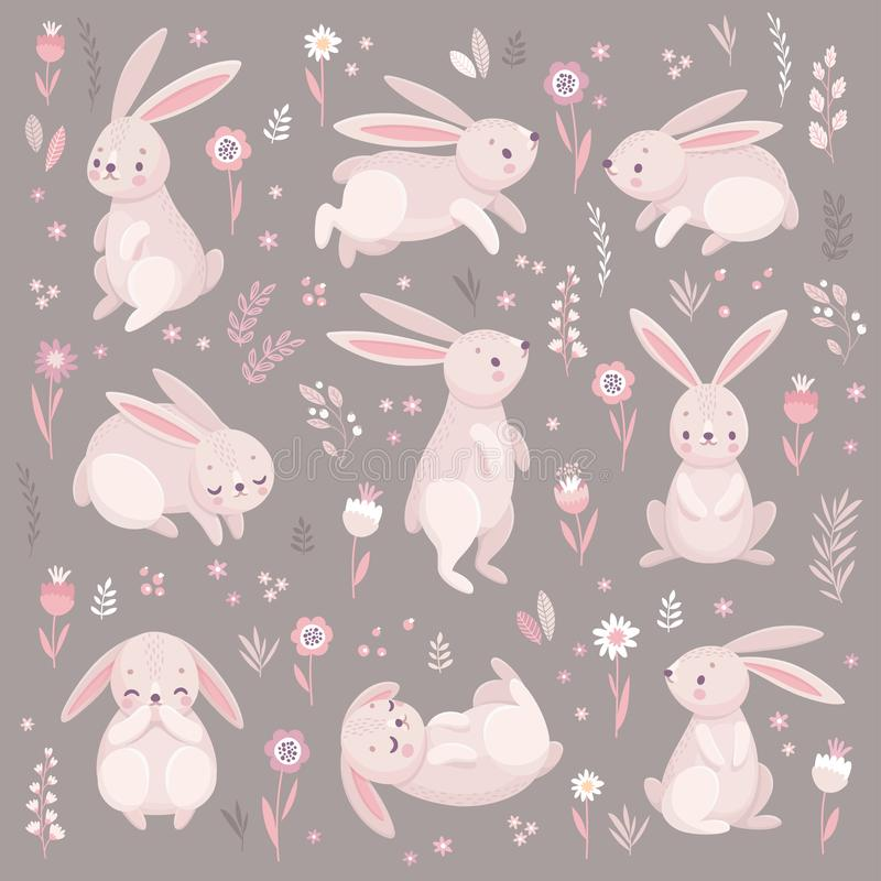 Conejos lindos que duermen, runnung, sentándose encantador libre illustration