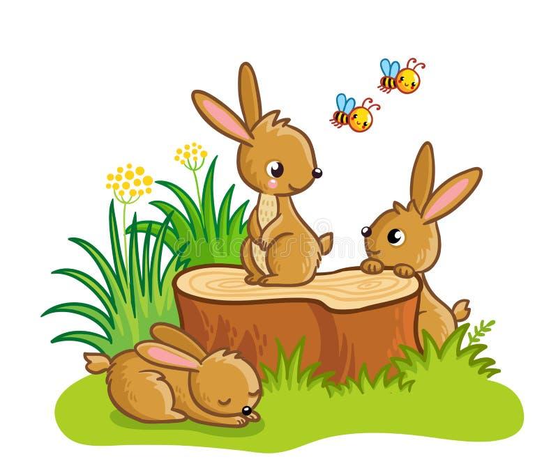Conejos lindos que se sientan alrededor del tocón stock de ilustración