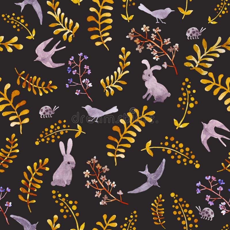 Conejos, pájaros, mariquitas, hojas de otoño Repetición del modelo ditsy lindo watercolor libre illustration