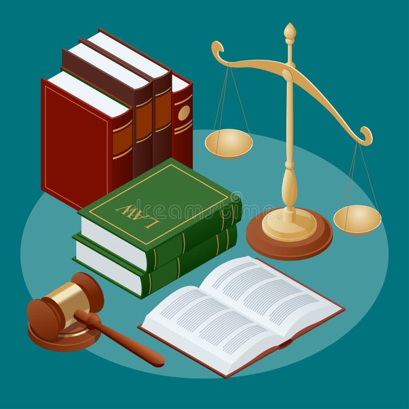Conept da lei e da justiça Símbolo da lei e da justiça Ilustração lisa do vetor do ícone ilustração stock