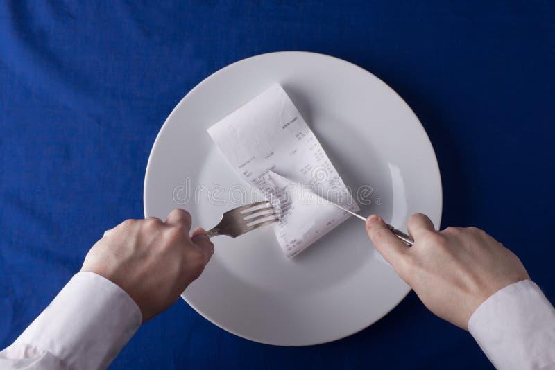 Conept, Kosten des Restaurants berechnet Kosten stockbilder