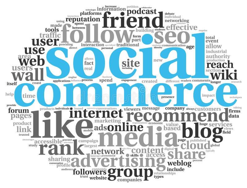 Conept social de commerce de media en nuage de tags de mot illustration libre de droits