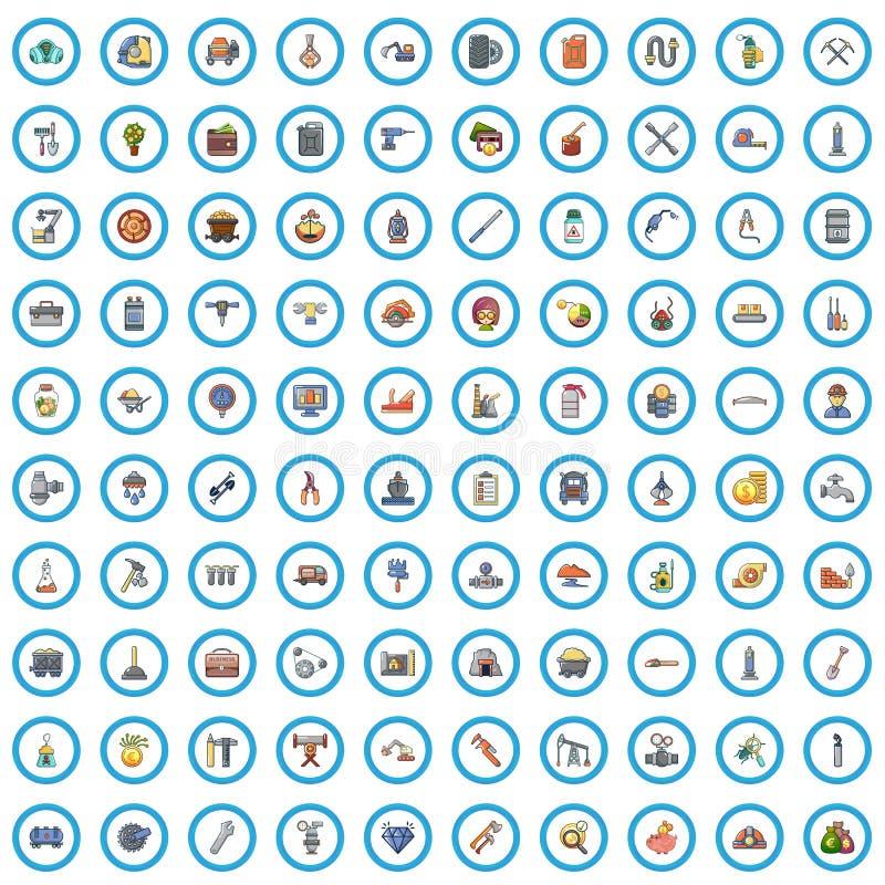 100 ?cones ajustados, estilo da loja da ferramenta dos desenhos animados ilustração royalty free