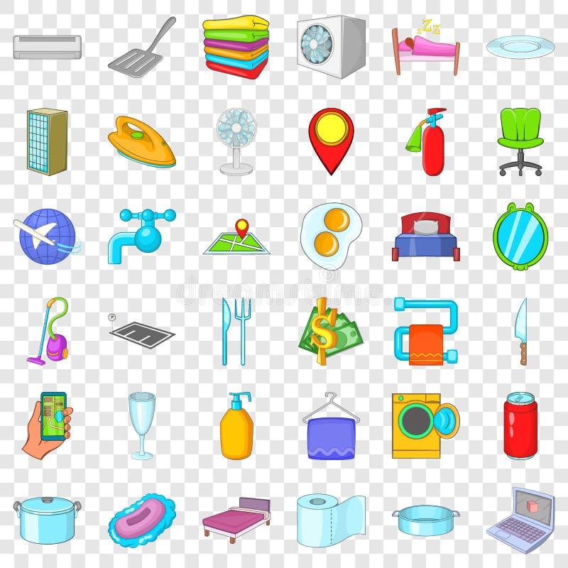 ?cones ajustados, estilo da m?quina de lavar dos desenhos animados ilustração royalty free