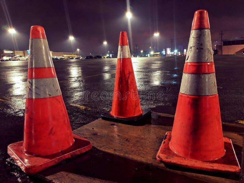 Cones alaranjados fotografia de stock