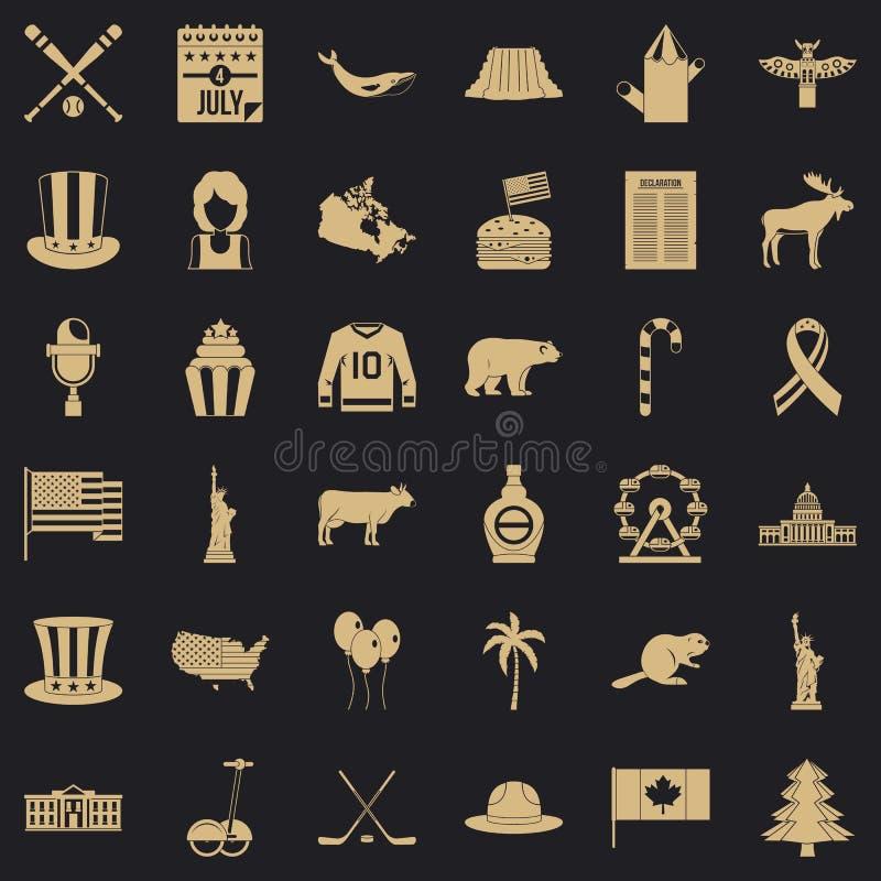 ?cones americanos ajustados, estilo simples da viagem ilustração royalty free