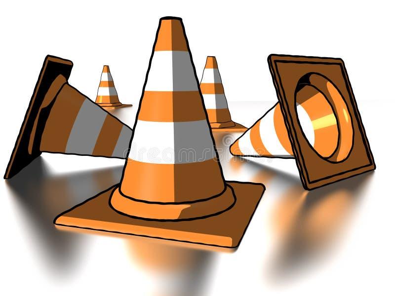 Cones cómicos do tráfego do estilo ilustração stock