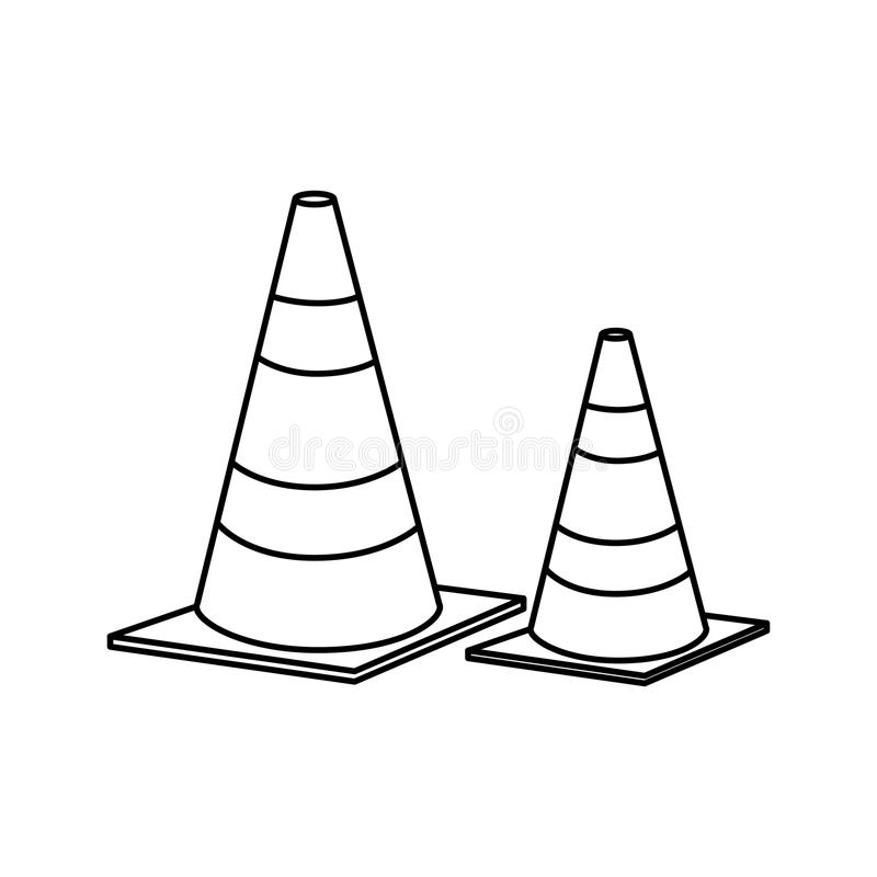 cones caution sign icon stock illustration