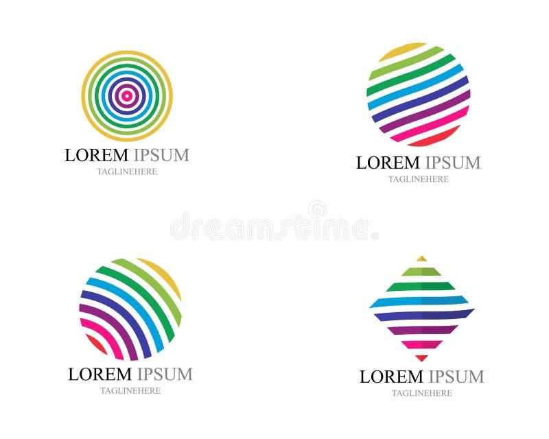 ?cones coloridos do logotipo do mundo do fio ilustração do vetor