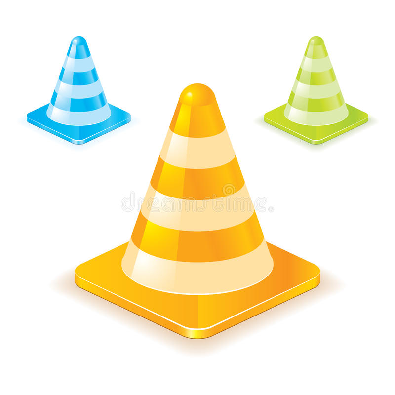 Cones coloridos do tráfego ilustração royalty free