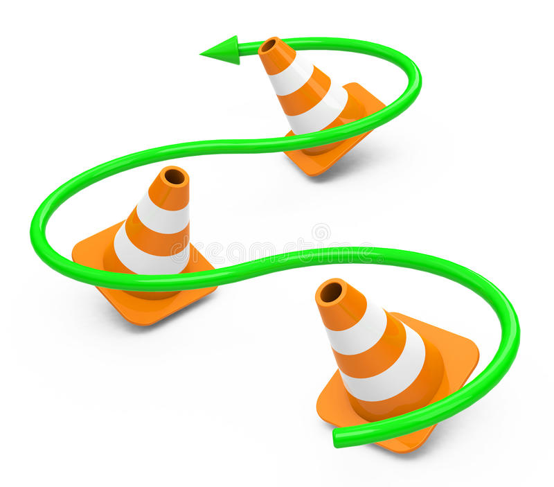 The cones. 3d generated picture of three cones and a green arrow royalty free illustration