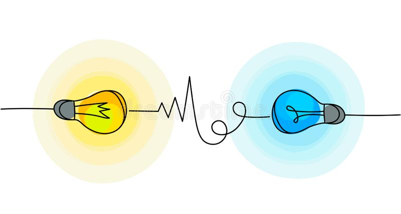 ?cones da ampola do vetor Símbolos da energia e da ideia ilustração do vetor