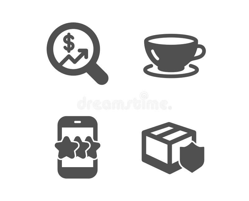 ?cones da auditoria da estrela, do caf? e da moeda Sinal do seguro da entrega Feedback do telefone, copo de caf?, carta do dinhei ilustração royalty free