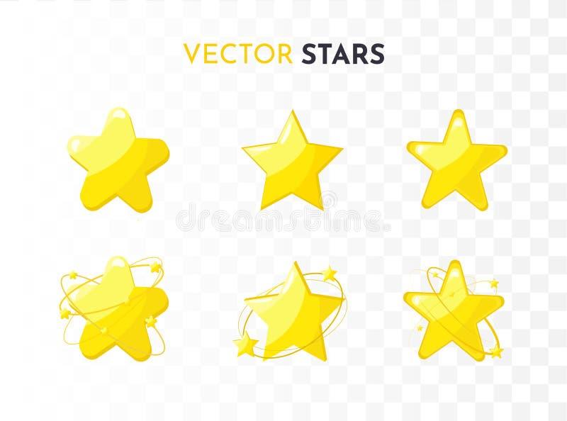 ?cones da estrela ajustados Vetor ilustração royalty free