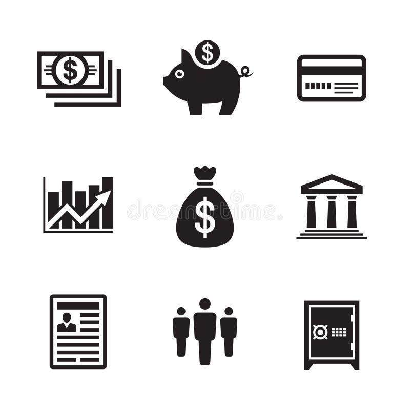 ?cones da finan?a do neg?cio ajustados Coleção econômica dos sinais do dinheiro Ilustra??o do vetor ilustração royalty free