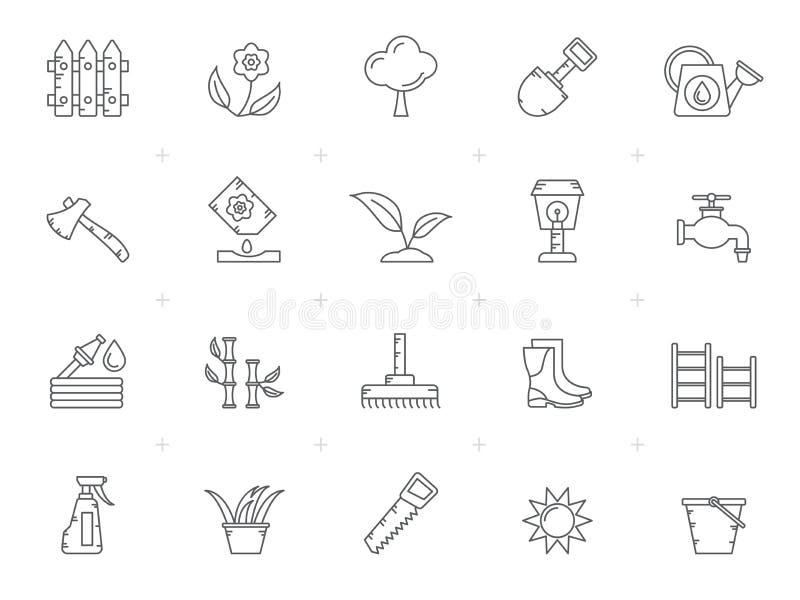 ?cones das ferramentas do jardim e de jardinagem ilustração royalty free