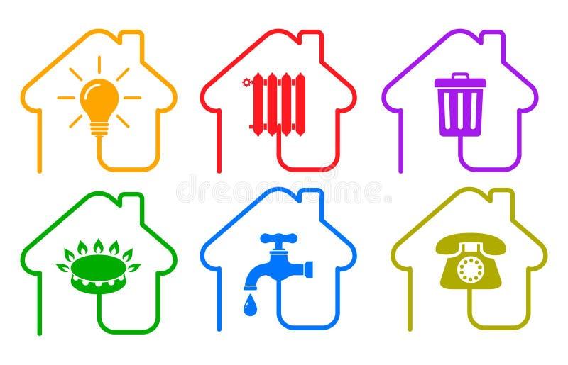 ?cones das utilidades no estilo liso: a ?gua, g?s, ilumina??o, aquecimento, telefone, desperdi?a vetor do ? ? ilustração do vetor
