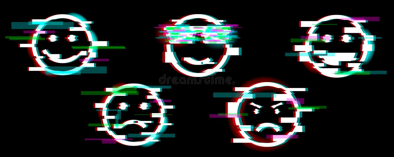 ?cones de Emoji Ajuste do sorriso com o divertimento diferente das emoções, triste, fresco, irritado, riso Efeito do pulso aleat? ilustração stock