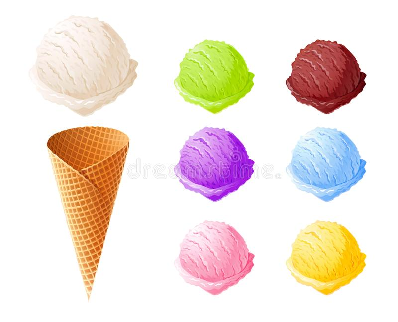 Cones de gelado da morango, do chocolate, da baunilha e do pistachio sobre o fundo branco Grupo de doçura do verão ilustração royalty free