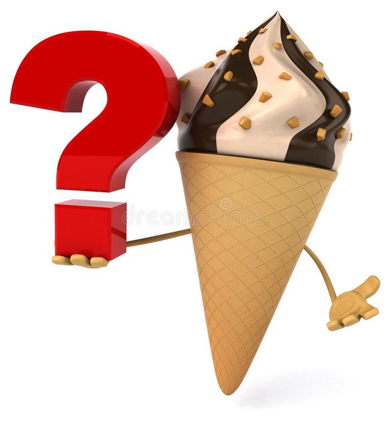 Cones de gelado da morango, do chocolate, da baunilha e do pistachio sobre o fundo branco ilustração stock