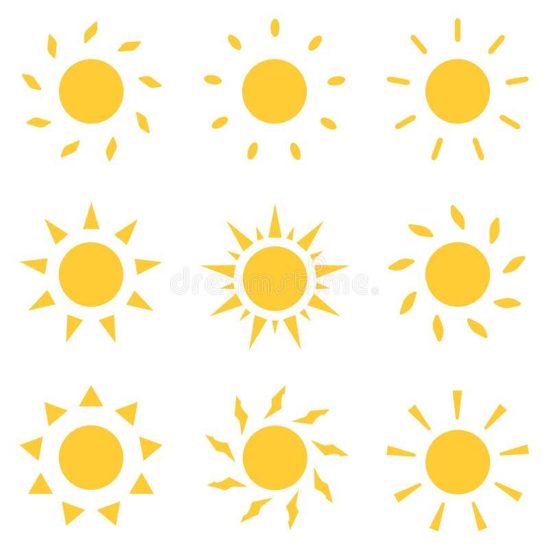 ?cones de Sun ajustados Ilustra??o do vetor ilustração do vetor