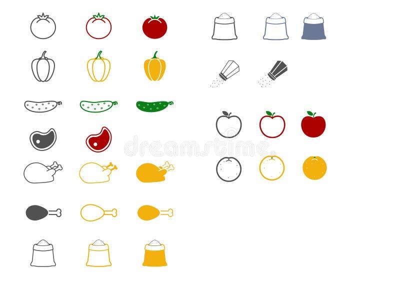 ?cones do alimento ilustração royalty free