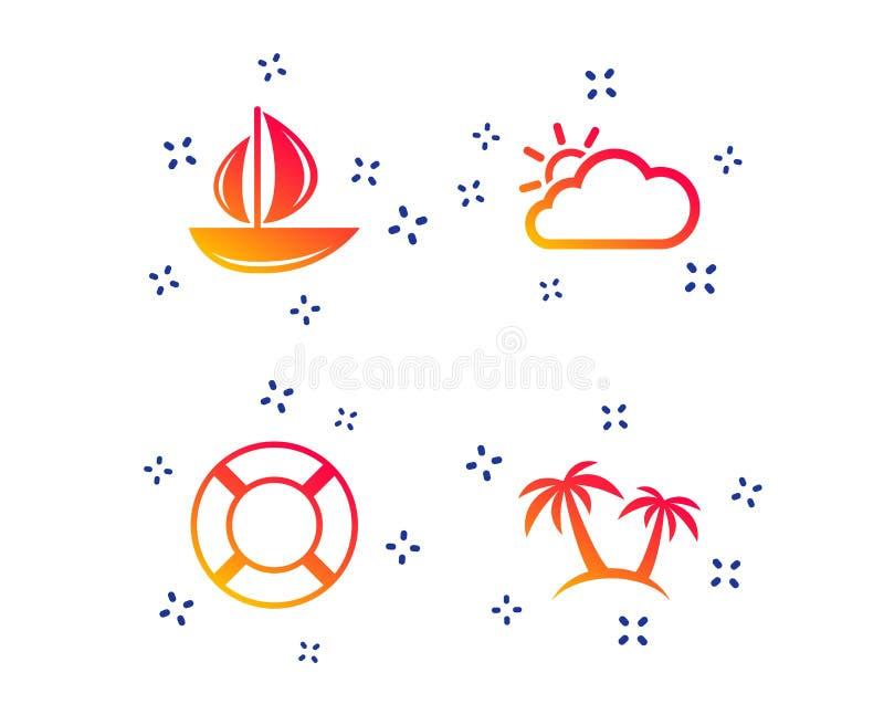 ?cones do curso Barco de vela com sinais do boia salva-vidas Vetor ilustração stock