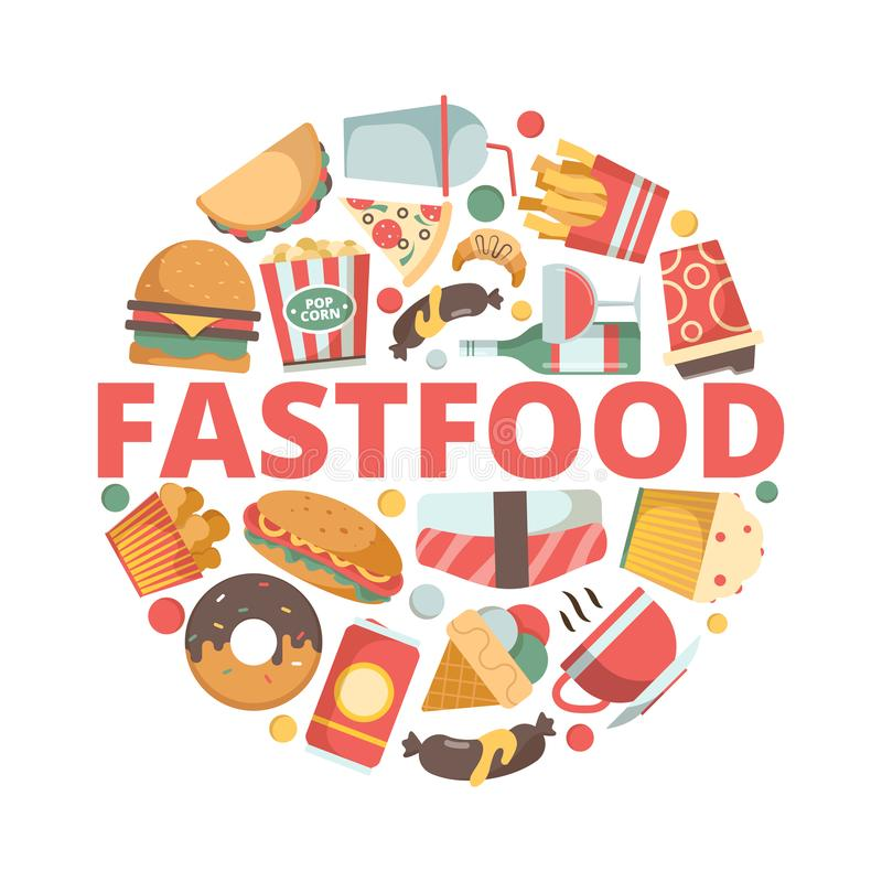 ?cones do fast food Imagens do menu no fast food frio do vetor do gelado do sanduíche do hamburguer da pizza da bebida da forma d ilustração royalty free