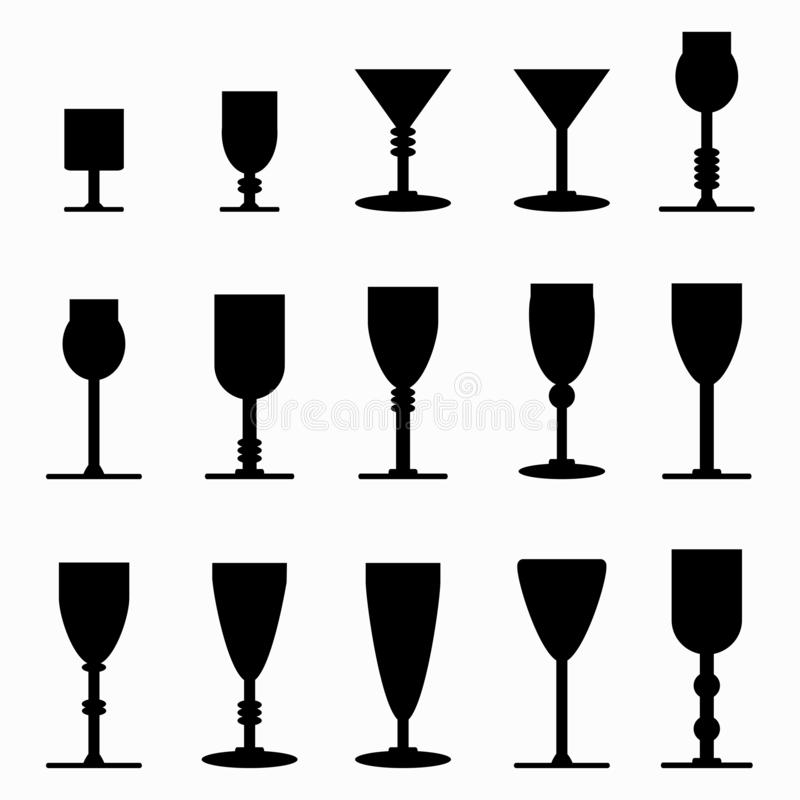 ?cones do monochrome dos vidros de vinho ilustração do vetor
