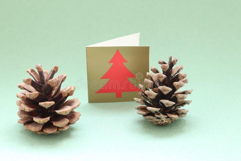 Cones do pinho do Natal e um cartão de Natal em um espaço liso do fundo dezembro, os salões fotos de stock royalty free